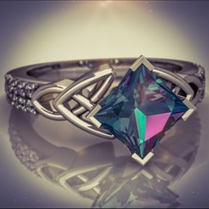 Sterling Silver 3.08CT Mystic Rainbow Topaz Ring